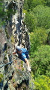 Rock Climbing Photo: Teejay grinnin like a possum eating a sweet tater....