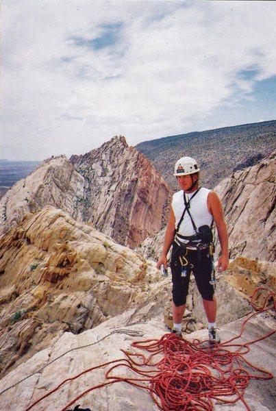 """Layne on the summit  1200"""" above the desert floor"""