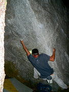 Rock Climbing Photo: Chandler Davis on the start of Golden Boy