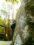 Rock Climbing Photo: Kuba setting up for the throw.