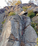 Rock Climbing Photo: Manticore Dihedral with etrier aid ladder to enabl...