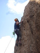 """Rock Climbing Photo: Nate searching for the anchors on """"Hook 'Em H..."""