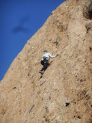 "Rock Climbing Photo: Jeanie nearing the anchors on ""Betty."""