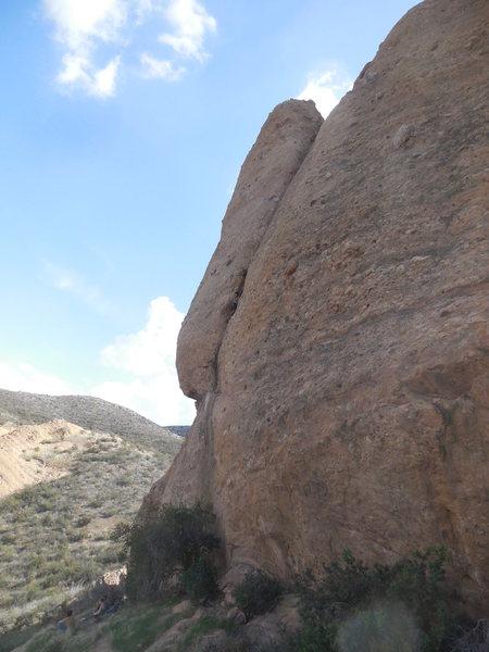 "Climber on the ""Shrike"" on the Pangea Wall."