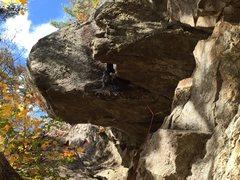 Rock Climbing Photo: Horizontal in Skin the Cat (5.12-).