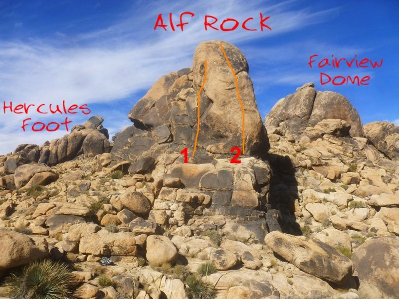 SW side of Alf Rock looking from the Hoodie. Hercules Foot is NW of Alf and Fairview Dome is above to the NE.<br> <br> 1. Close Encounter (5.12a)<br> 2. Alien Highway (5.10c)