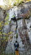 Rock Climbing Photo: Figuring out how to get through the wide crack wit...