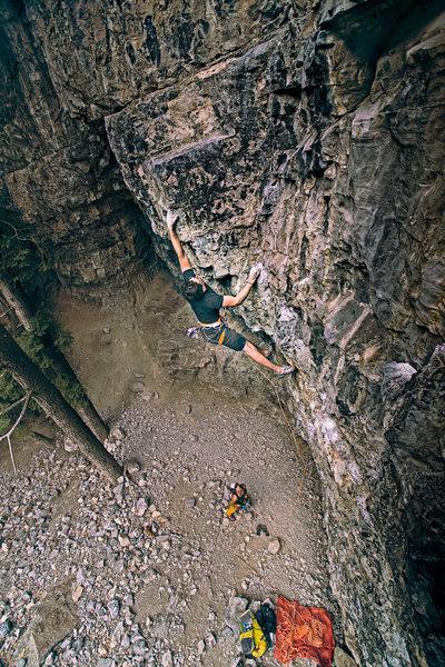 Rock Climbing Photo: Clark on Top Shelf.  6D Ziess 25mm 1.4