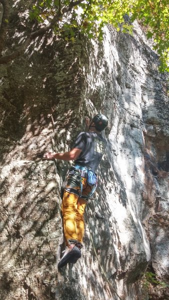 Rock Climbing Photo: Chase working up the arete