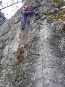 Rock Climbing Photo: First lead climb on Wussy Boy