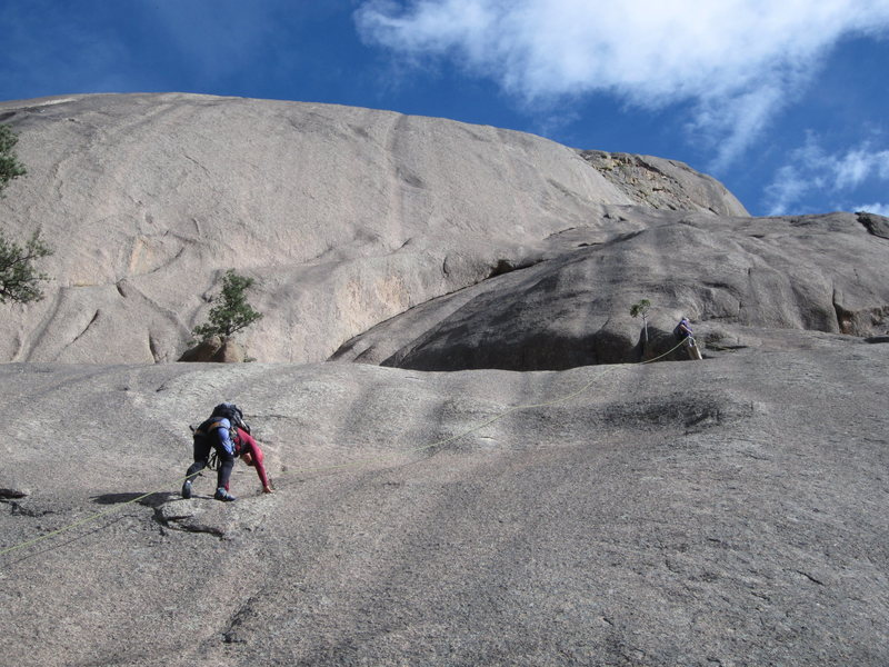 Pitch 1, showing the location of the belay.