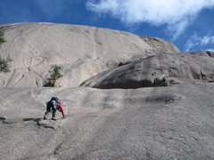 Rock Climbing Photo: Pitch 1, showing the location of the belay.