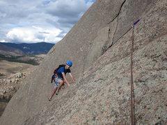 Rock Climbing Photo: Henry Bell finishing pitch 2.