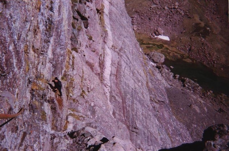 P3 traverse off Direct Start, Ellingwood Ledges, 2002....