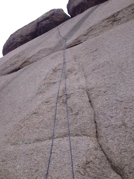 The route with a rope on it.