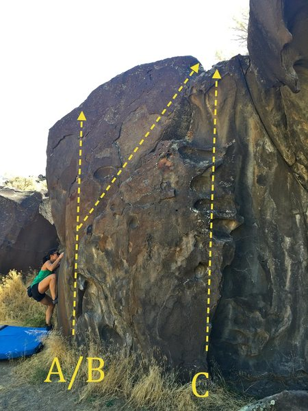 Rock Climbing Photo: Right side of Crack is Whack boulder: A) Flexy Fla...