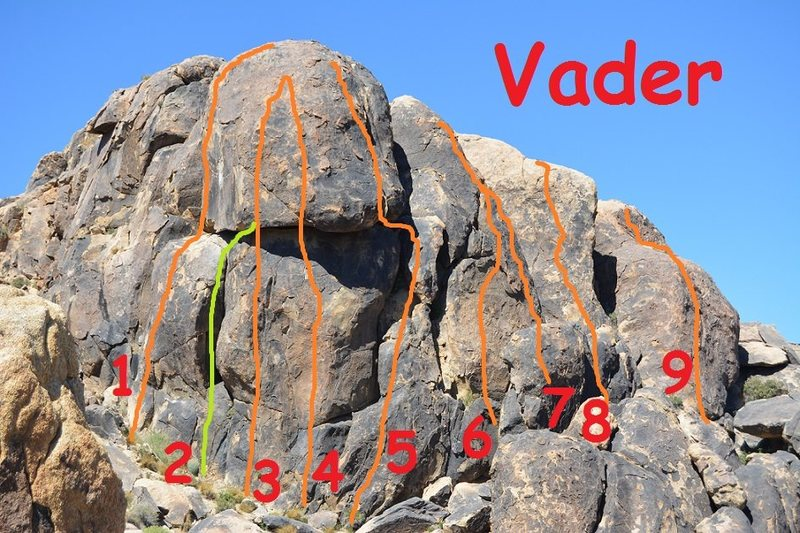 Left to right: 5.9,10b,10b,12,10,9,7,9,8<br> <br> Additional 5.8 climb not pictured above and behind #9