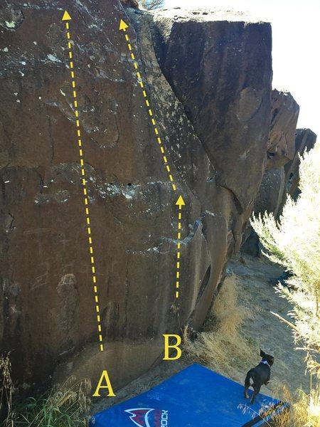 Left side of Crack is Whack boulder:<br> A) McCrimpin<br> B) Fingerlockin' Good