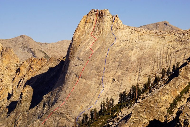 Both routes on the South Face of Cherubim Dome: <br> Blue - Dark Angels Have More Fun<br> Red - What Dreams May Come