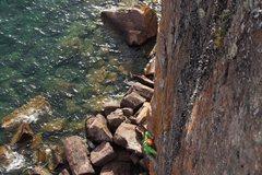 Rock Climbing Photo: Exiting the crux corner. Photos by Bob Omann.