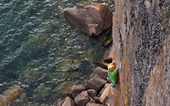 Rock Climbing Photo: Sending Echoes extension and working through the f...