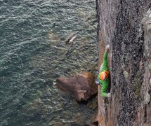 Rock Climbing Photo: The final (and thin!) redpoint crux traverse.  Stu...
