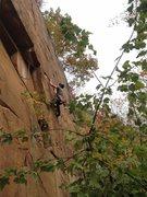 Rock Climbing Photo: Reaching up to the hidden crack. Super fun climb