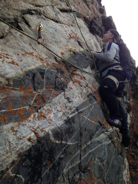 Rock Climbing Photo: Don Silver on opening moves of pitch one, 5.8 on f...