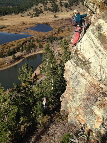 Rock Climbing Photo: Tim Gale leading pitch 2.