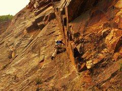 Rock Climbing Photo: Gimpmonkey on FA of Beyond Chunderdome 11/2014.