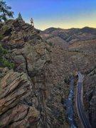 Rock Climbing Photo: Evening top out on Playin' Hooky as the sun retrea...