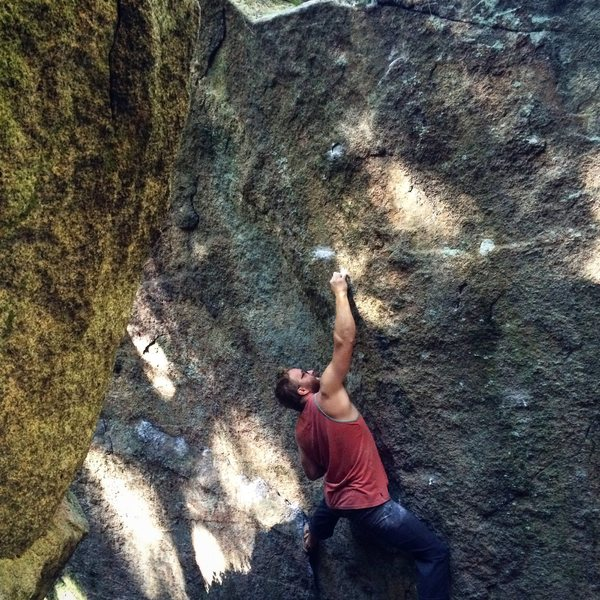 Rock Climbing Photo: Latching the first crimp