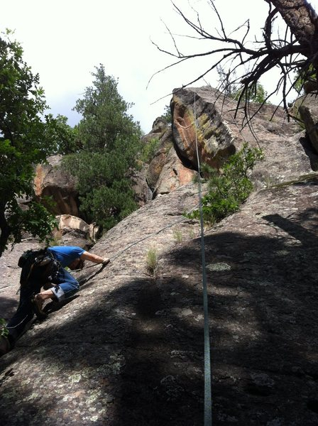 Rock Climbing Photo: 'My Opinion' climbs the right side of the green li...