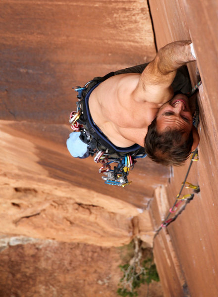 A from above shot of J. Weingast at the funky pod leading Willy's Hand Jive. Such a phenomenal route.