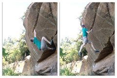 Rock Climbing Photo: Frogging up, then making the dyno to the pocket