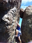 Rock Climbing Photo: East Boulder, offset wall, very hard... Small hold...