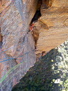 Rock Climbing Photo: The dramatic traverse up high.