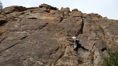 Rock Climbing Photo: Abby on Hip Checker which shares the start with Sy...