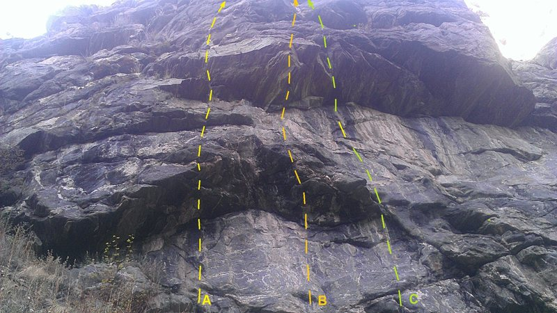 The starts of first three routes from the left: A=Dogs That Bite, B=Beast It, C=Geese In Flight.