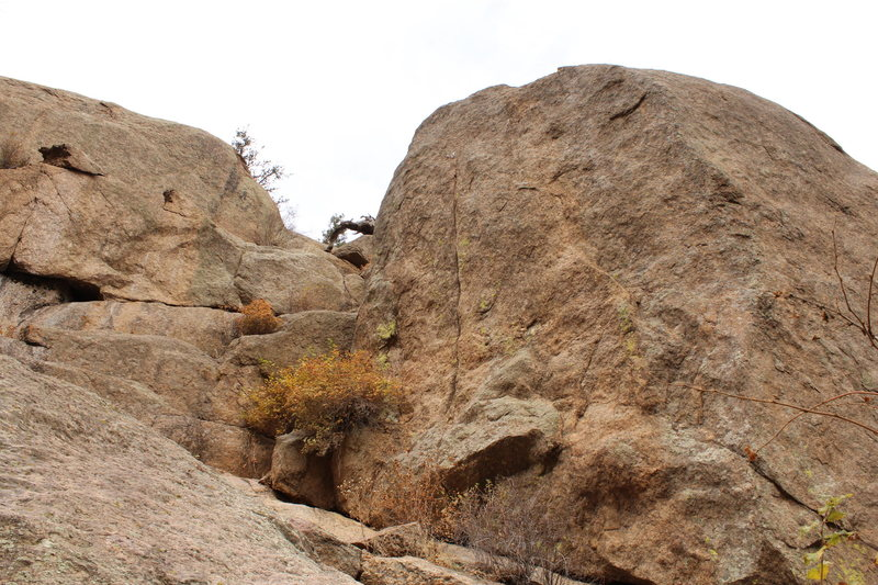 Rock Climbing Photo: 2 new bolts at the top, above what appears to be a...