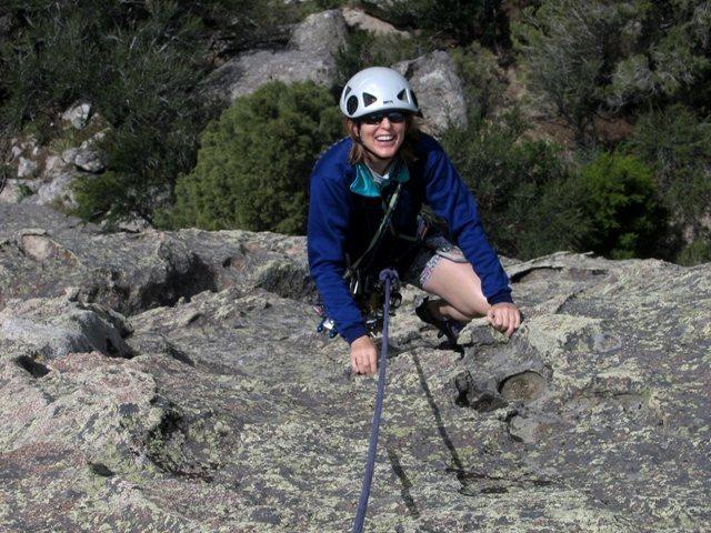 Rock Climbing Photo: Patty topping out the FA of Crème brûlée.
