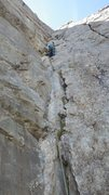 Rock Climbing Photo: The crux pitch on Voie Frison-Roche, Le Brevant, C...
