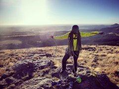 Rock Climbing Photo: Jenny Antin on the summit of Devil's Tower 10/18/2...