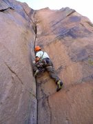 Rock Climbing Photo: Josh heads up Isengard. The resting pod and the st...
