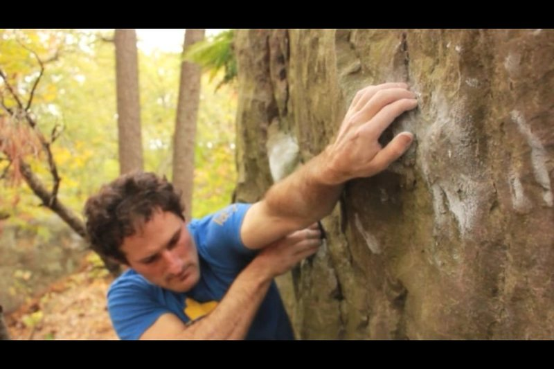 Rock Climbing Photo: Rolling through a handful of moves into Holy Cow.