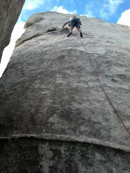 Rock Climbing Photo: Brandt leading Bong Along. The nut placements to h...
