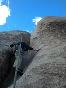 Rock Climbing Photo: Hagny working the crux, looking for crimps.