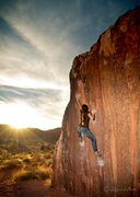 Rock Climbing Photo: The Pearl V4 Seen Here: Crista Hunter Photo By: Za...