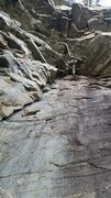 Rock Climbing Photo: 5.8, kind of follows the crack up under the Amphit...