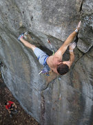 Rock Climbing Photo: Making the crux moves right to gain the finishing ...